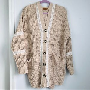 POL   Cream Lace Detail Button Front Sweater